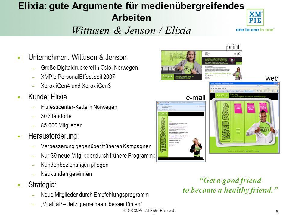 2010 © XMPie. All Rights Reserved. 6 Elixia: gute Argumente für medienübergreifendes Arbeiten Wittusen & Jenson / Elixia Unternehmen: Wittusen & Jenso