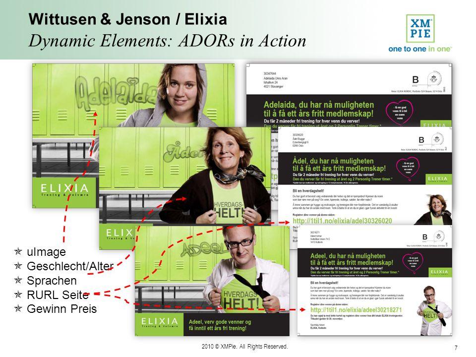2010 © XMPie. All Rights Reserved. 7 Wittusen & Jenson / Elixia Dynamic Elements: ADORs in Action uImage Geschlecht/Alter Sprachen RURL Seite Gewinn P