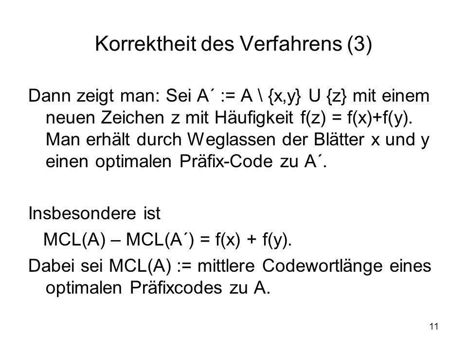 11 Korrektheit des Verfahrens (3) Dann zeigt man: Sei A´ := A \ {x,y} U {z} mit einem neuen Zeichen z mit Häufigkeit f(z) = f(x)+f(y). Man erhält durc