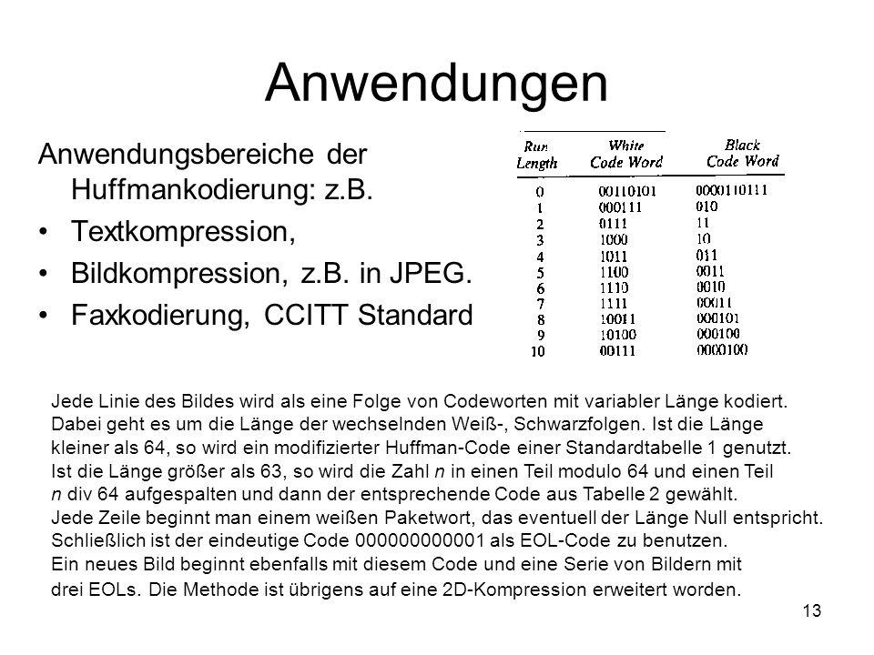 13 Anwendungen Anwendungsbereiche der Huffmankodierung: z.B. Textkompression, Bildkompression, z.B. in JPEG. Faxkodierung, CCITT Standard Jede Linie d