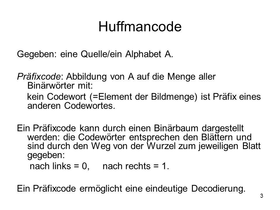 3 Huffmancode Gegeben: eine Quelle/ein Alphabet A. Präfixcode: Abbildung von A auf die Menge aller Binärwörter mit: kein Codewort (=Element der Bildme