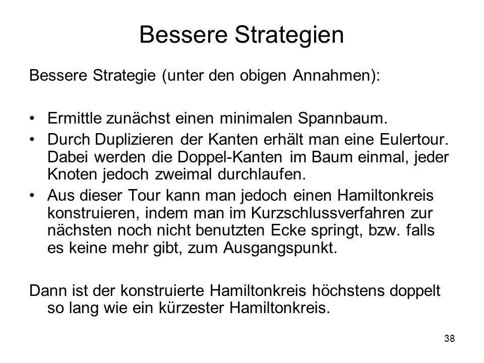 38 Bessere Strategien Bessere Strategie (unter den obigen Annahmen): Ermittle zunächst einen minimalen Spannbaum. Durch Duplizieren der Kanten erhält