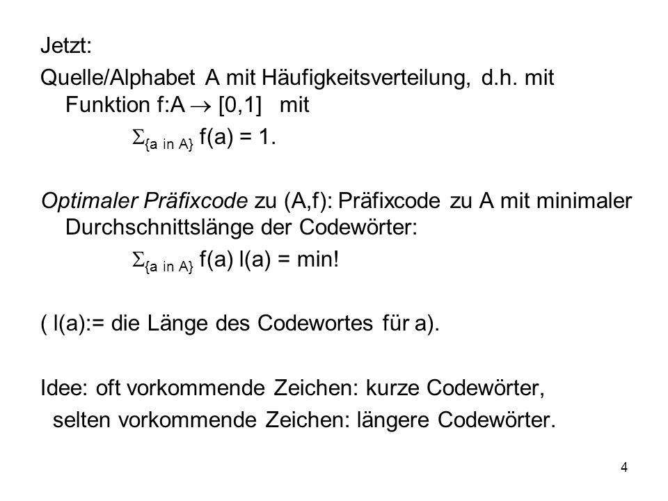 4 Jetzt: Quelle/Alphabet A mit Häufigkeitsverteilung, d.h. mit Funktion f:A [0,1] mit {a in A} f(a) = 1. Optimaler Präfixcode zu (A,f): Präfixcode zu