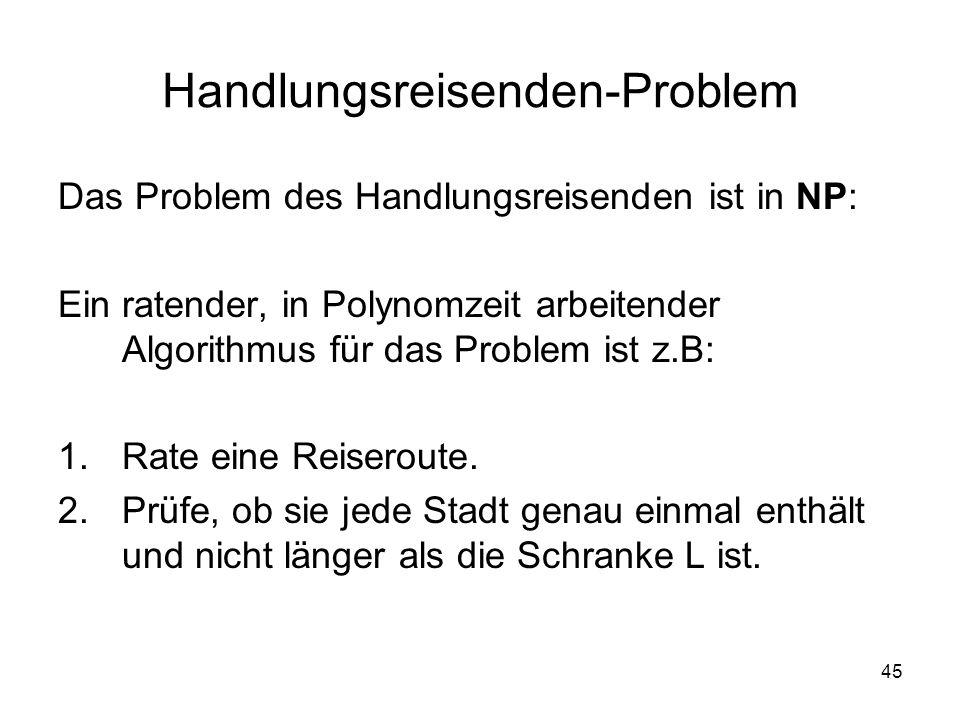 45 Handlungsreisenden-Problem Das Problem des Handlungsreisenden ist in NP: Ein ratender, in Polynomzeit arbeitender Algorithmus für das Problem ist z