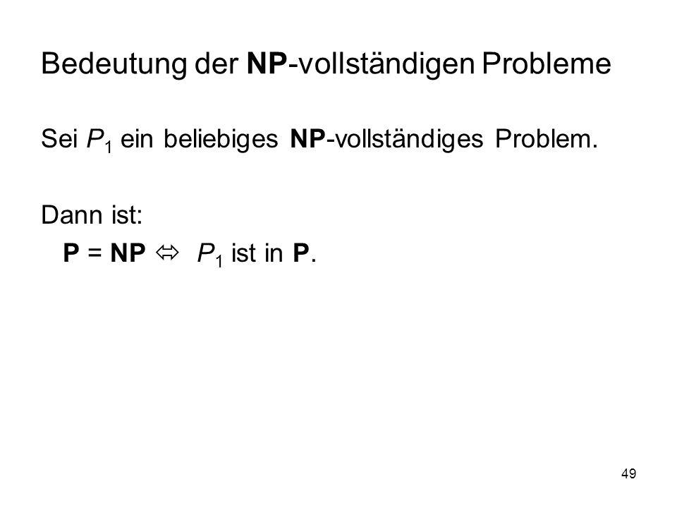 49 Bedeutung der NP-vollständigen Probleme Sei P 1 ein beliebiges NP-vollständiges Problem. Dann ist: P = NP P 1 ist in P.