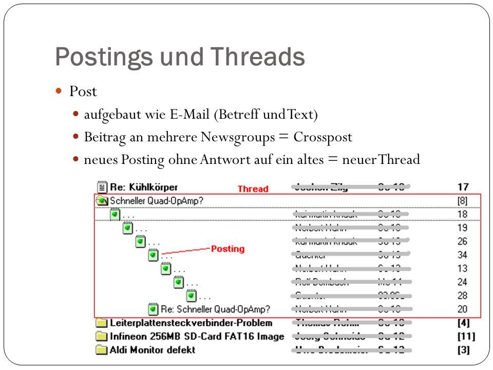Postings und Threads Post aufgebaut wie E-Mail (Betreff und Text) Beitrag an mehrere Newsgroups = Crosspost neues Posting ohne Antwort auf ein altes = neuer Thread