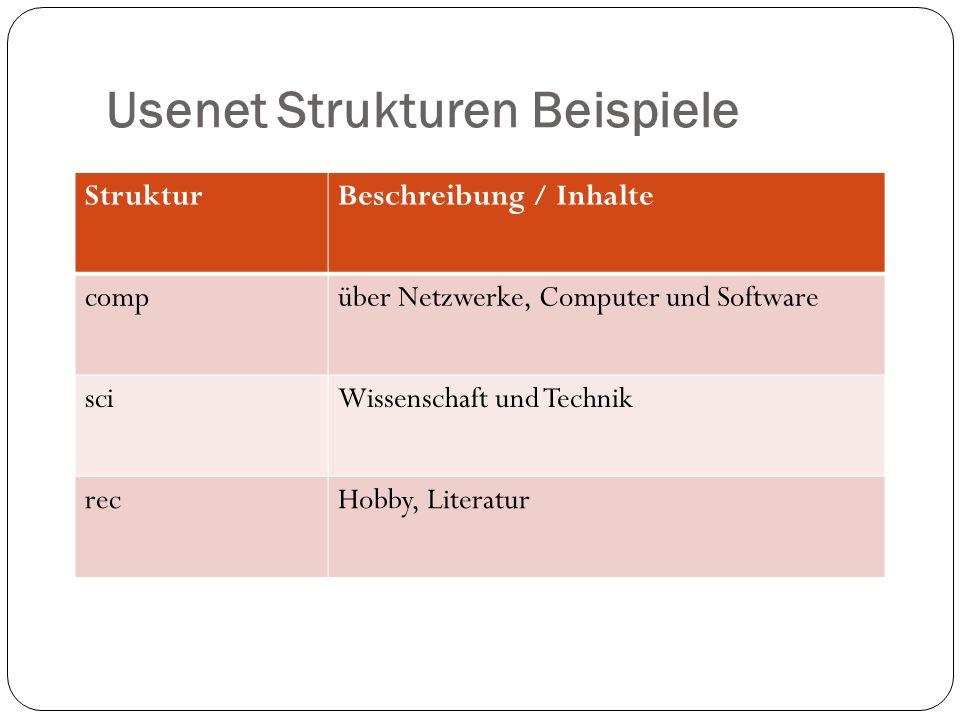 Usenet Strukturen Beispiele StrukturBeschreibung / Inhalte compüber Netzwerke, Computer und Software sciWissenschaft und Technik recHobby, Literatur