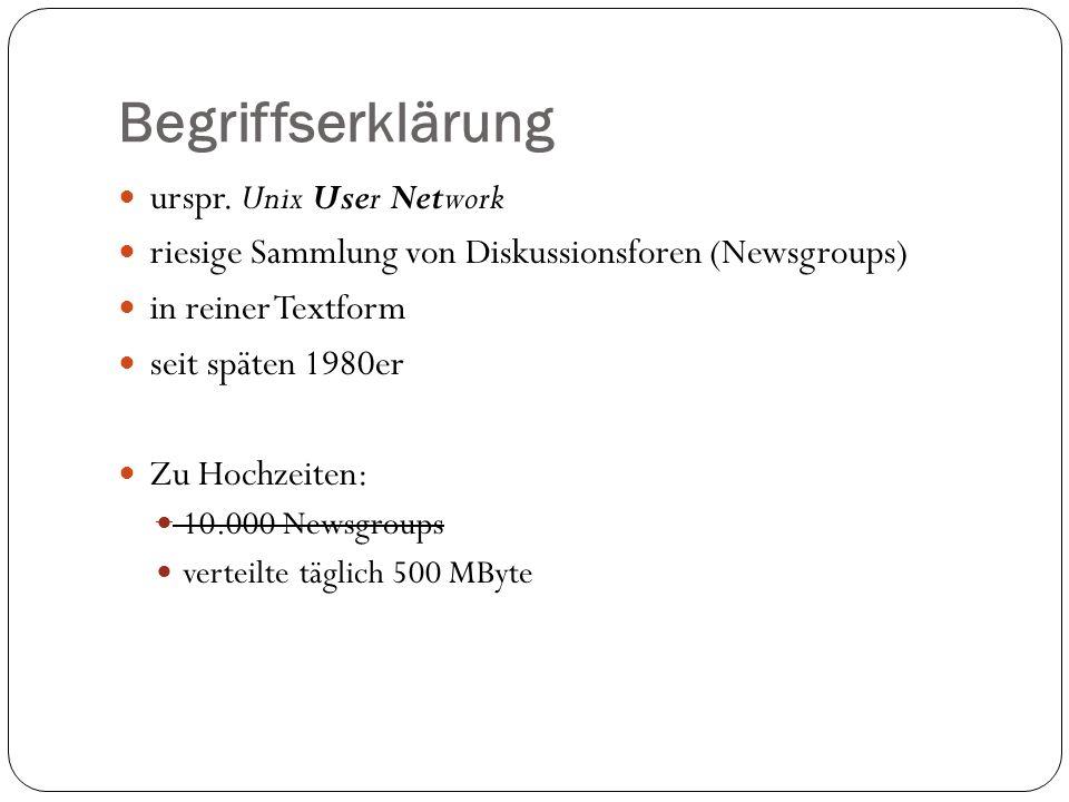 Struktur der Newsgroups hierarchisch aufgebaut einzelne Newsgroup eigner Name englische Namen und Kürzeln auch eine länderspezifische bzw.