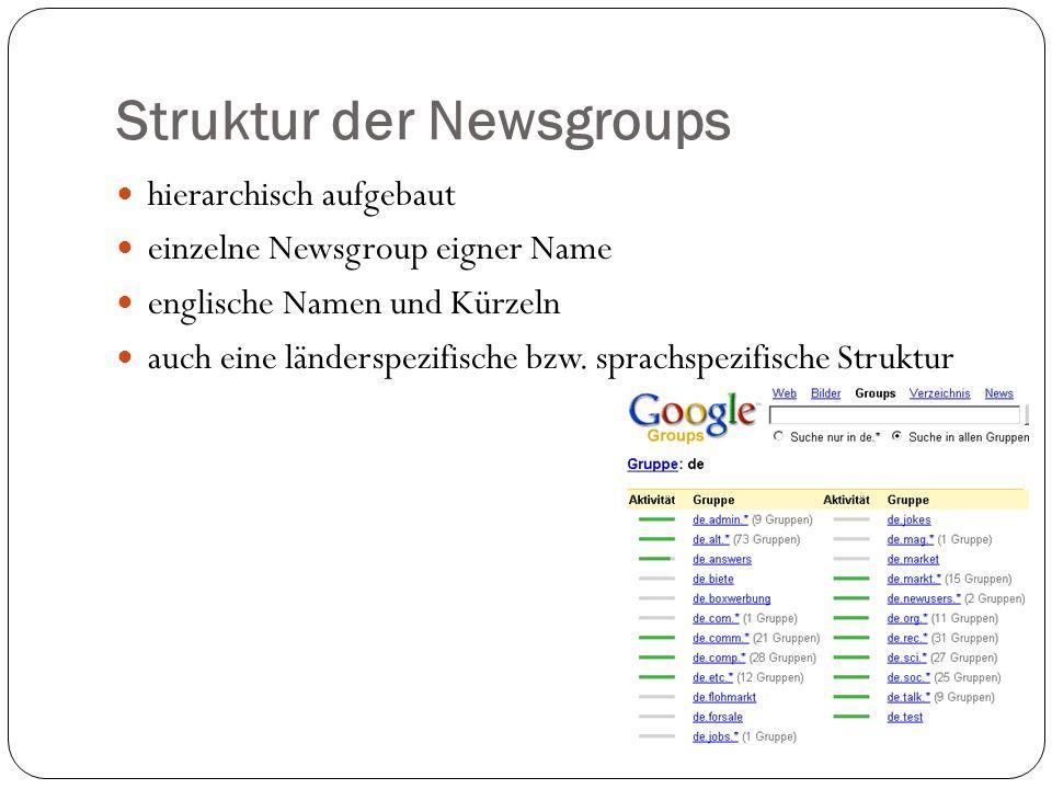 Funktionsweise vergleichbar mit Schwarzem Brett oder Zeitung es existieren Moderatoren riesige Diskussionsbäume = Threads