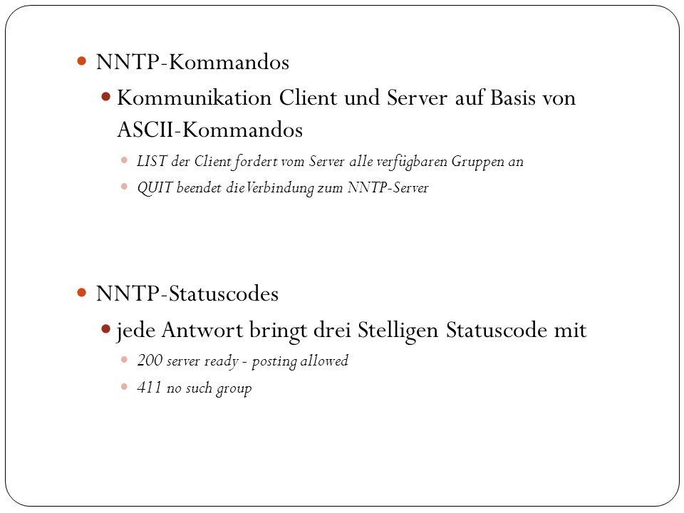 Verbreitung von Artikeln (Beispiel) Client C1 schreibt einen neuen Artikel und sendet ihn an News-Server N1.