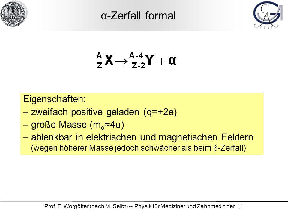 Prof. F. Wörgötter (nach M. Seibt) -- Physik für Mediziner und Zahnmediziner 11 α-Zerfall formal Eigenschaften: – zweifach positive geladen (q=+2e) –