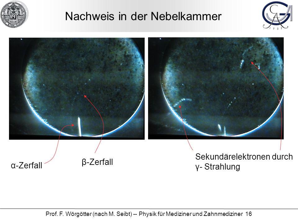 Prof. F. Wörgötter (nach M. Seibt) -- Physik für Mediziner und Zahnmediziner 16 Nachweis in der Nebelkammer α-Zerfall β-Zerfall Sekundärelektronen dur