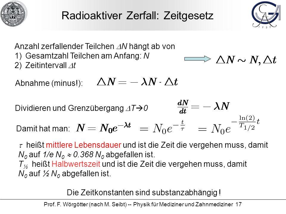 Prof. F. Wörgötter (nach M. Seibt) -- Physik für Mediziner und Zahnmediziner 17 Radioaktiver Zerfall: Zeitgesetz Anzahl zerfallender Teilchen N hängt