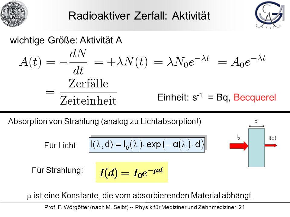 Prof. F. Wörgötter (nach M. Seibt) -- Physik für Mediziner und Zahnmediziner 21 Radioaktiver Zerfall: Aktivität wichtige Größe: Aktivität A Einheit: s