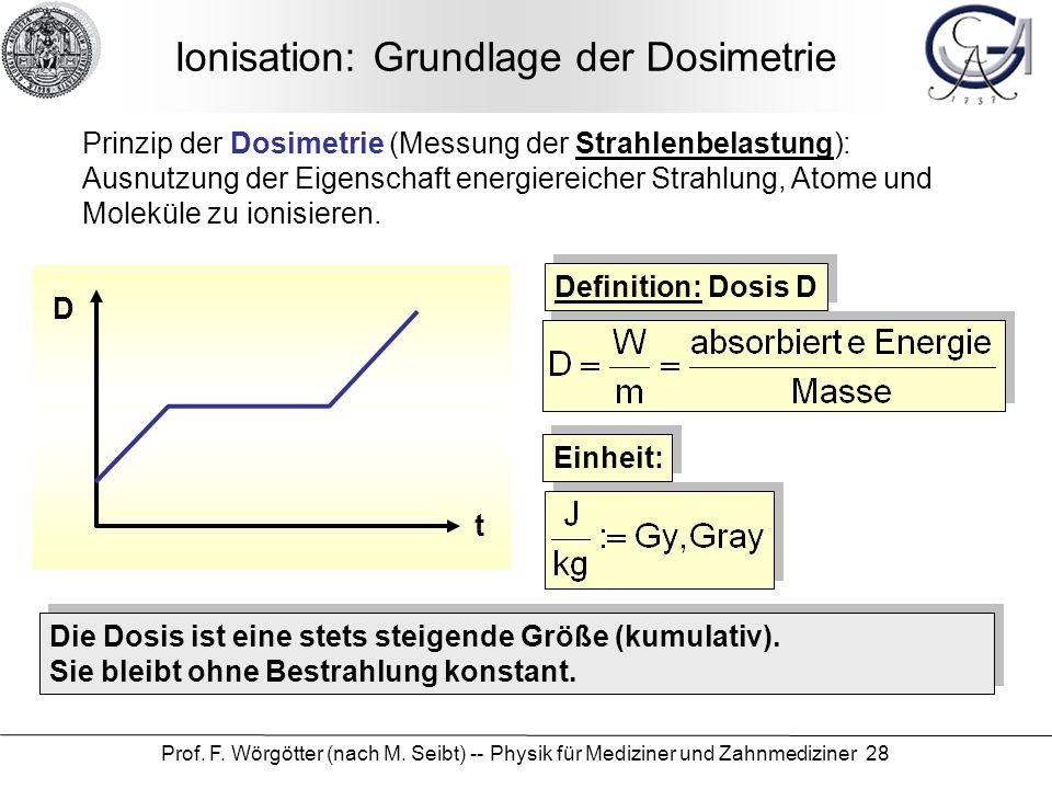 Prof. F. Wörgötter (nach M. Seibt) -- Physik für Mediziner und Zahnmediziner 28 Ionisation: Grundlage der Dosimetrie Prinzip der Dosimetrie (Messung d
