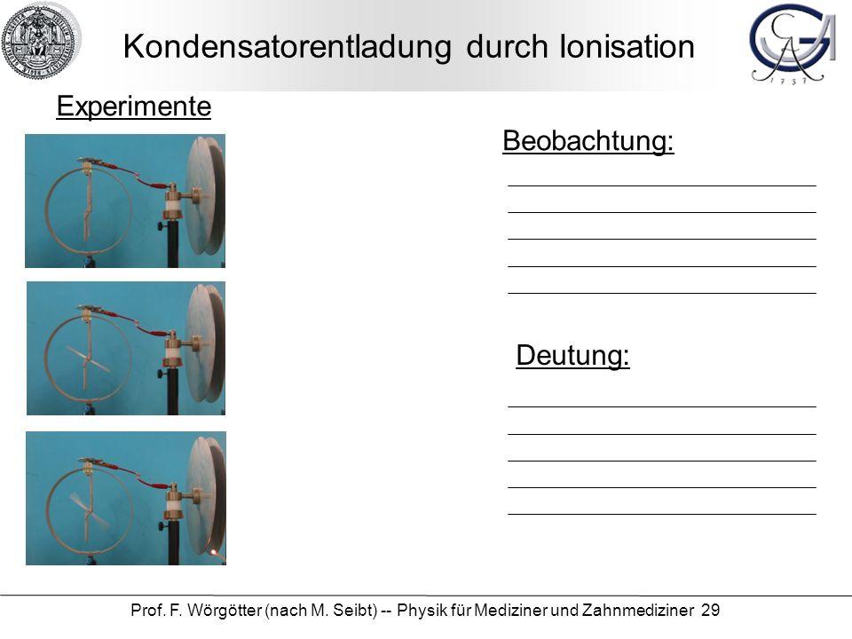 Prof. F. Wörgötter (nach M. Seibt) -- Physik für Mediziner und Zahnmediziner 29 Kondensatorentladung durch Ionisation Beobachtung: Deutung: Experiment