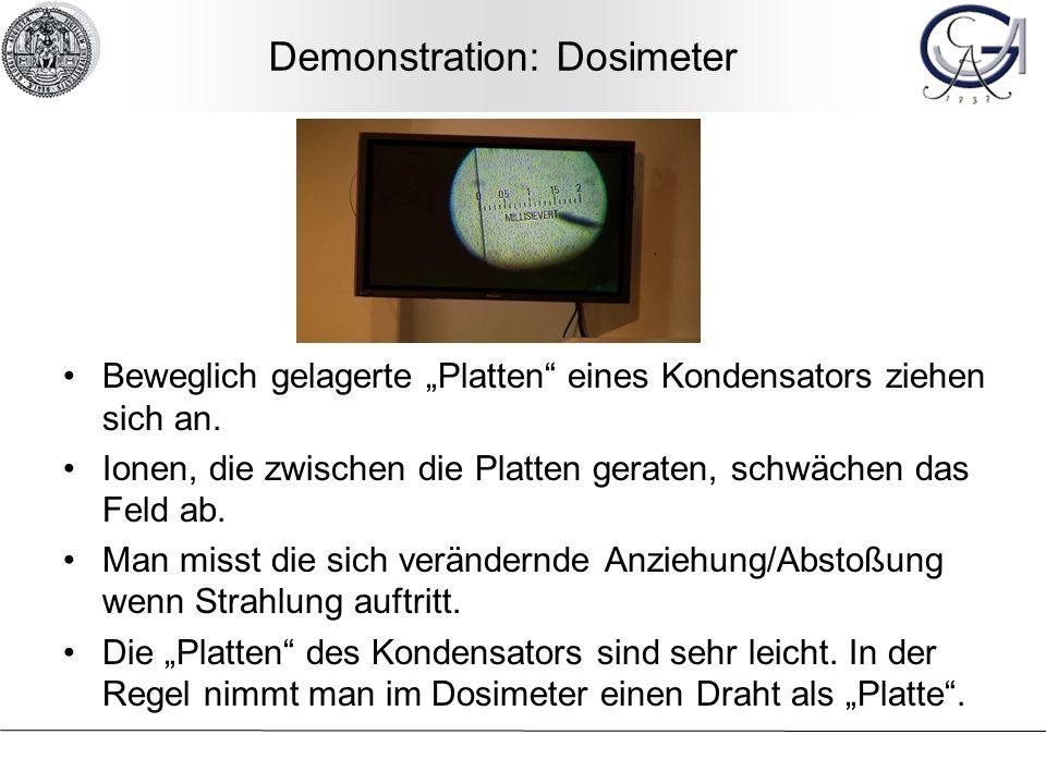 Demonstration: Dosimeter Beweglich gelagerte Platten eines Kondensators ziehen sich an. Ionen, die zwischen die Platten geraten, schwächen das Feld ab