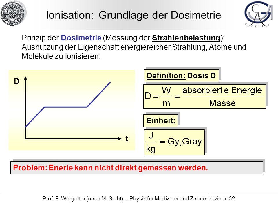 Prof. F. Wörgötter (nach M. Seibt) -- Physik für Mediziner und Zahnmediziner 32 Ionisation: Grundlage der Dosimetrie Prinzip der Dosimetrie (Messung d