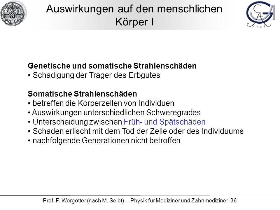 Prof. F. Wörgötter (nach M. Seibt) -- Physik für Mediziner und Zahnmediziner 36 Auswirkungen auf den menschlichen Körper I Genetische und somatische S