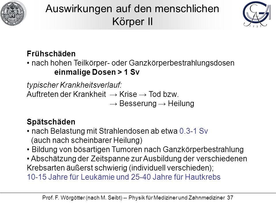 Prof. F. Wörgötter (nach M. Seibt) -- Physik für Mediziner und Zahnmediziner 37 Auswirkungen auf den menschlichen Körper II Frühschäden nach hohen Tei