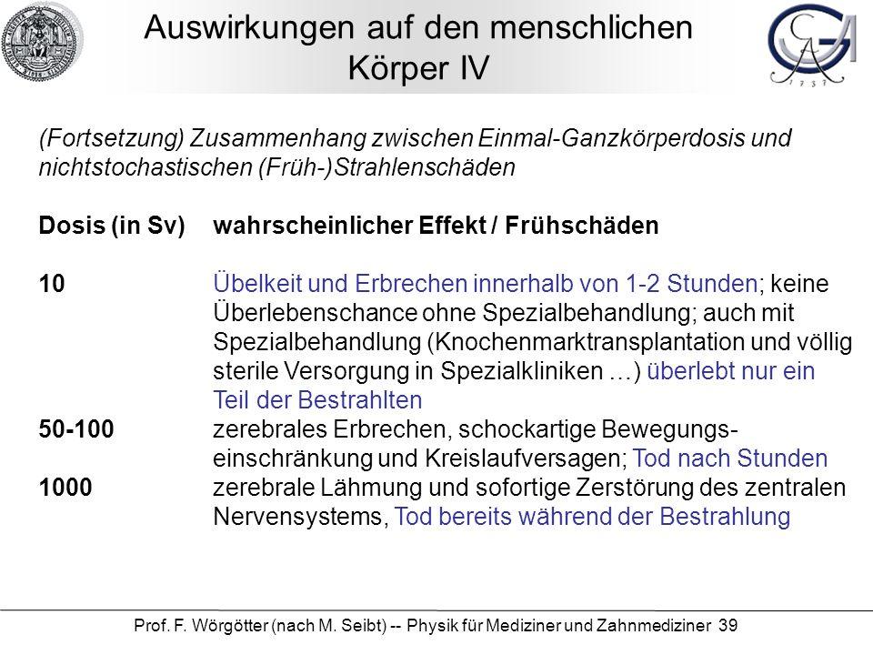 Prof. F. Wörgötter (nach M. Seibt) -- Physik für Mediziner und Zahnmediziner 39 Auswirkungen auf den menschlichen Körper IV (Fortsetzung) Zusammenhang