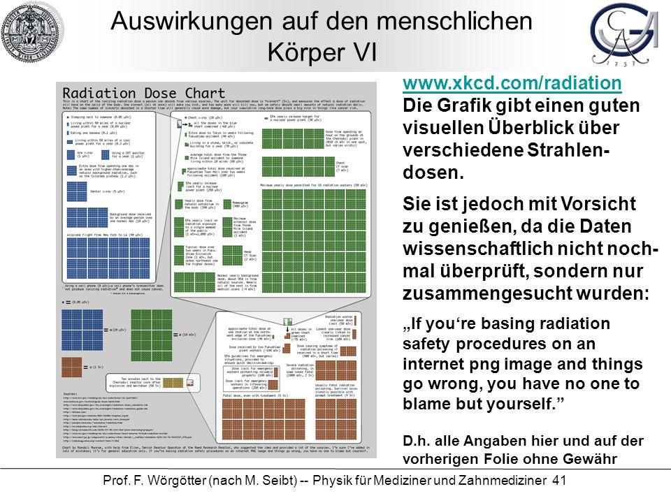 Prof. F. Wörgötter (nach M. Seibt) -- Physik für Mediziner und Zahnmediziner 41 Auswirkungen auf den menschlichen Körper VI www.xkcd.com/radiation Die