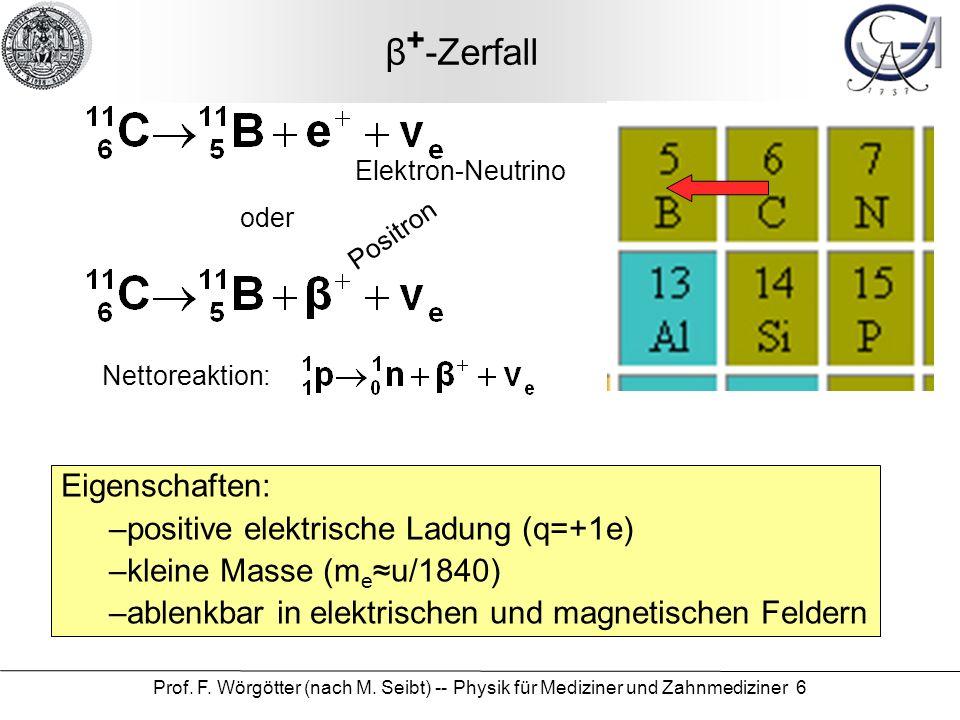 Prof. F. Wörgötter (nach M. Seibt) -- Physik für Mediziner und Zahnmediziner 6 β + -Zerfall Nettoreaktion: oder Positron Eigenschaften: –positive elek