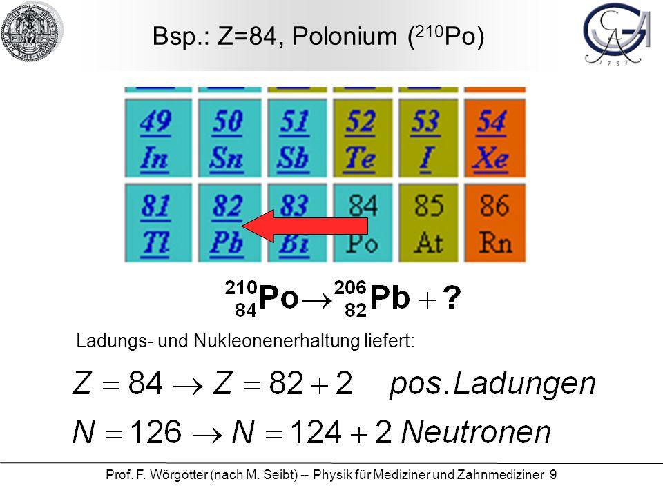 Prof. F. Wörgötter (nach M. Seibt) -- Physik für Mediziner und Zahnmediziner 9 Bsp.: Z=84, Polonium ( 210 Po) Ladungs- und Nukleonenerhaltung liefert: