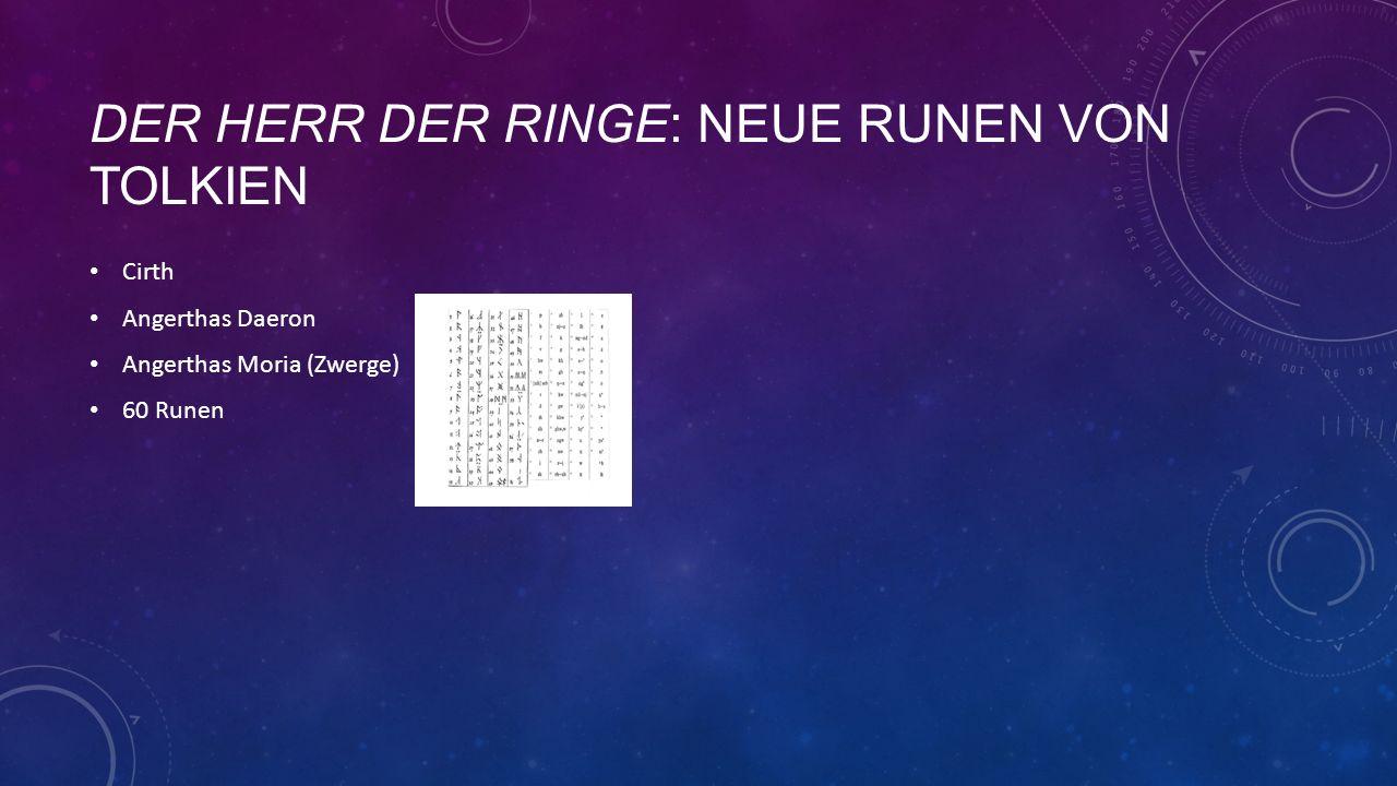 DER HERR DER RINGE: NEUE RUNEN VON TOLKIEN Cirth Angerthas Daeron Angerthas Moria (Zwerge) 60 Runen