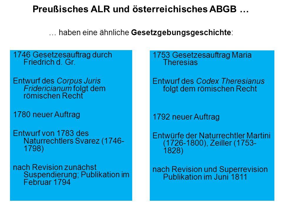 Preußisches ALR und österreichisches ABGB … … haben eine ähnliche Gesetzgebungsgeschichte: 1746 Gesetzesauftrag durch Friedrich d. Gr. Entwurf des Cor