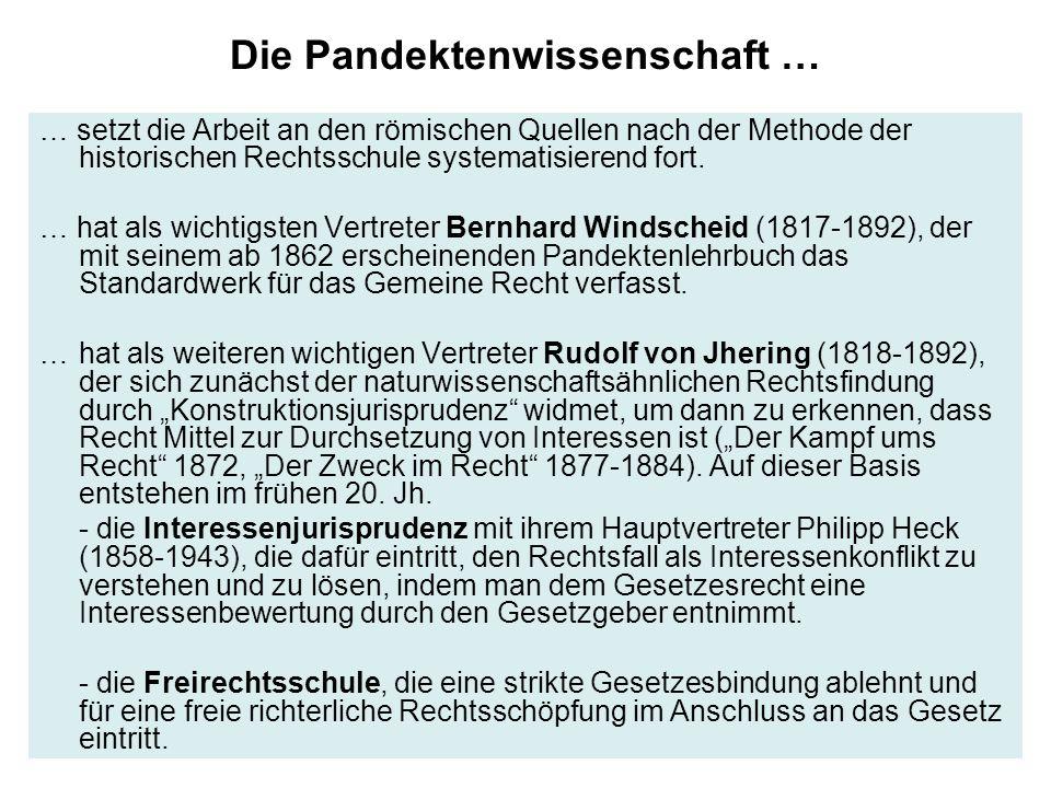Die Pandektenwissenschaft … … setzt die Arbeit an den römischen Quellen nach der Methode der historischen Rechtsschule systematisierend fort. … hat al