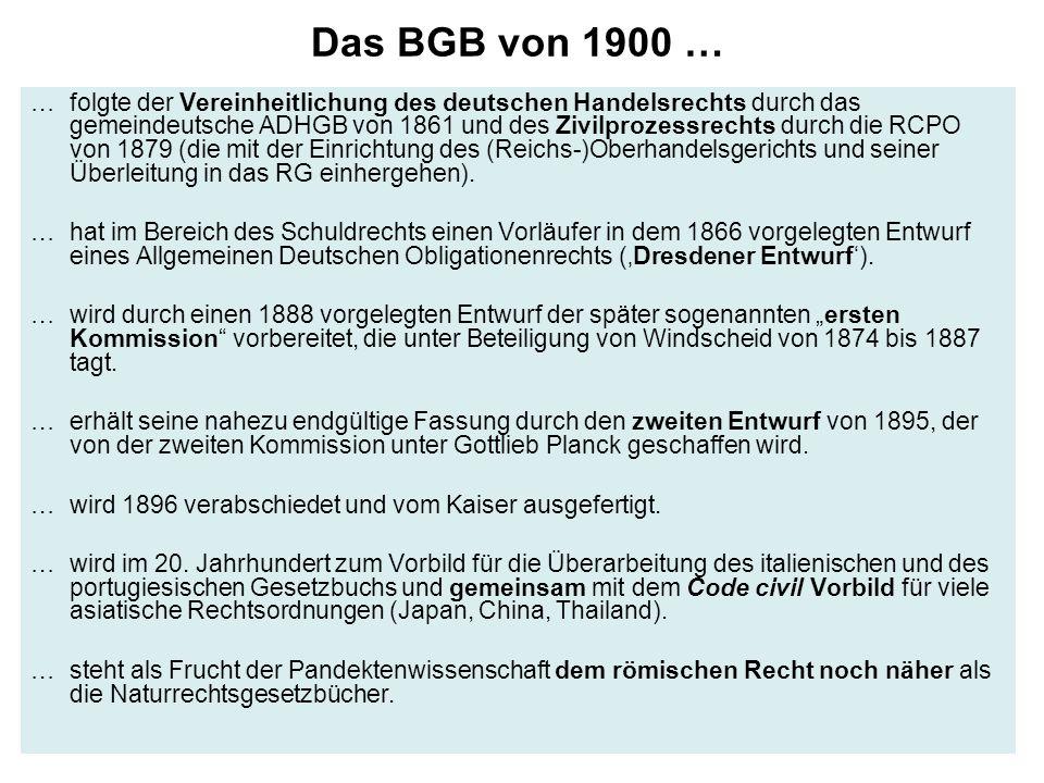 Das BGB von 1900 … … folgte der Vereinheitlichung des deutschen Handelsrechts durch das gemeindeutsche ADHGB von 1861 und des Zivilprozessrechts durch