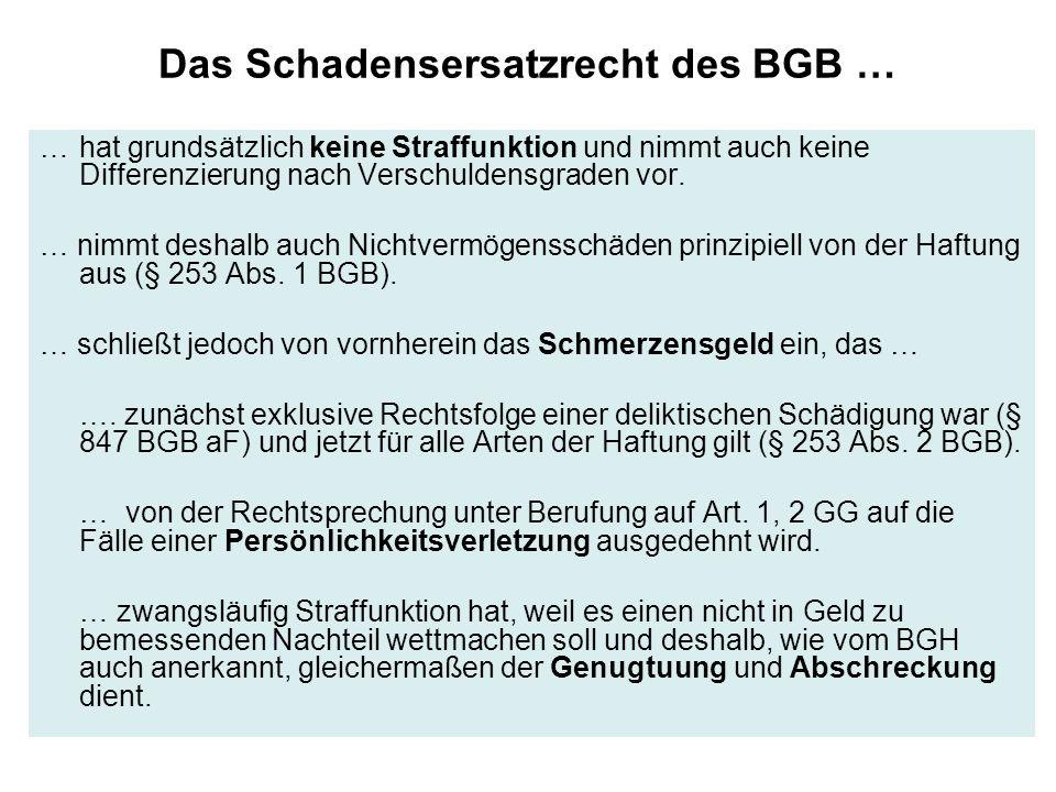 Das Schadensersatzrecht des BGB … …hat grundsätzlich keine Straffunktion und nimmt auch keine Differenzierung nach Verschuldensgraden vor. … nimmt des
