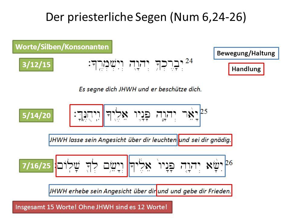 Der priesterliche Segen (Num 6,24-26) Worte/Silben/Konsonanten 3/12/15 5/14/20 7/16/25 Insgesamt 15 Worte! Ohne JHWH sind es 12 Worte! Bewegung/Haltun