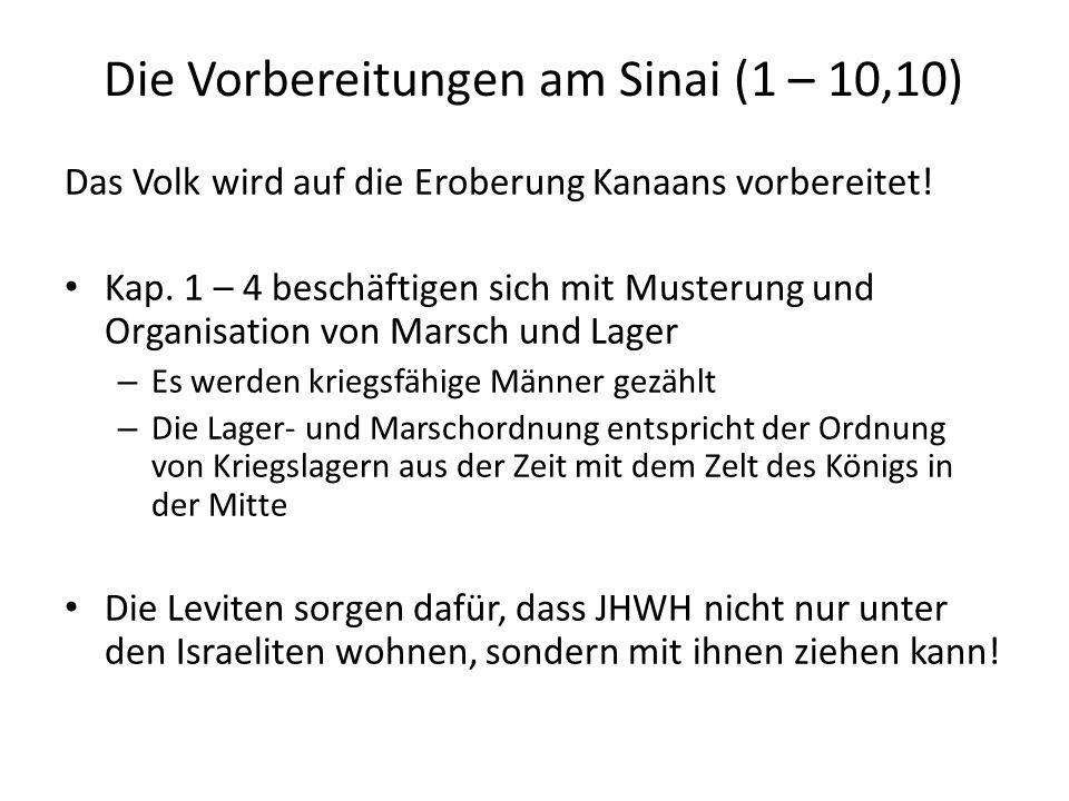 Die Vorbereitungen am Sinai (1 – 10,10) Das Volk wird auf die Eroberung Kanaans vorbereitet! Kap. 1 – 4 beschäftigen sich mit Musterung und Organisati