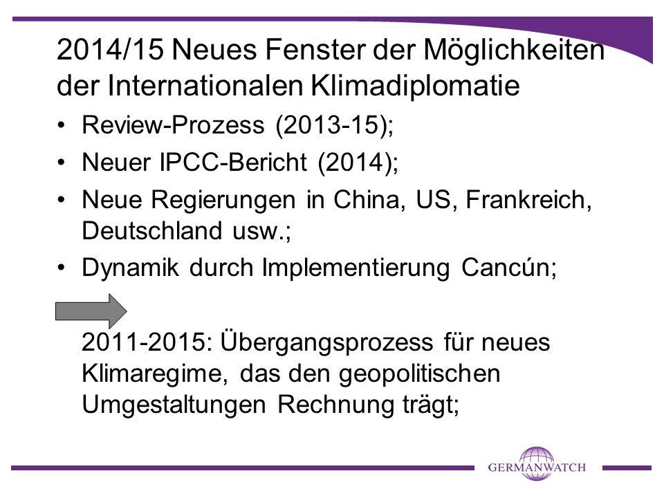 2014/15 Neues Fenster der Möglichkeiten der Internationalen Klimadiplomatie Review-Prozess (2013-15); Neuer IPCC-Bericht (2014); Neue Regierungen in C