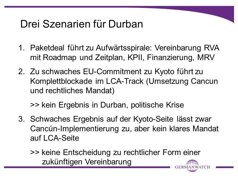 Drei Szenarien für Durban 1.Paketdeal führt zu Aufwärtsspirale: Vereinbarung RVA mit Roadmap und Zeitplan, KPII, Finanzierung, MRV 2.Zu schwaches EU-C
