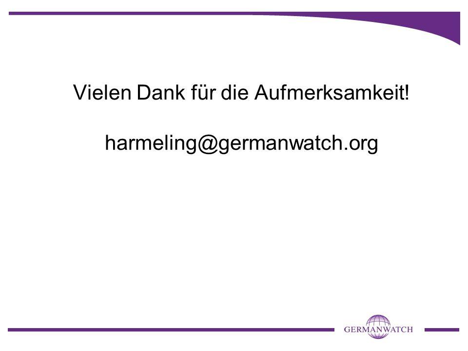 Vielen Dank für die Aufmerksamkeit! harmeling@germanwatch.org