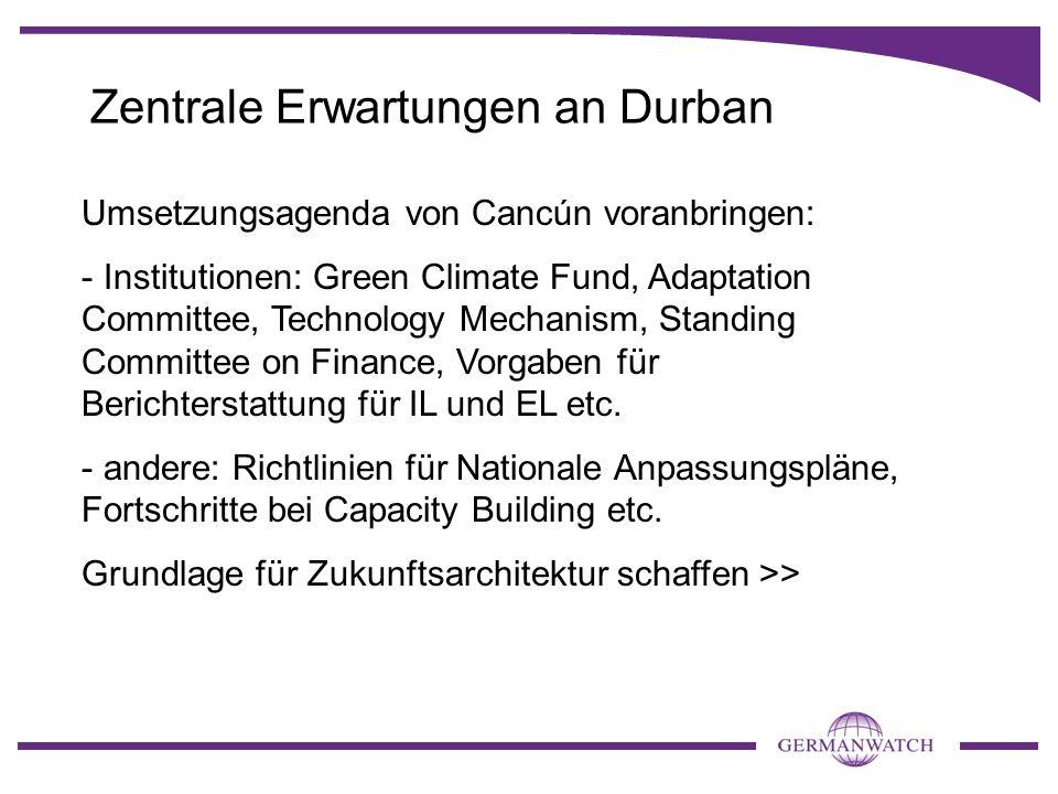 Drei Szenarien für Durban 1.Paketdeal führt zu Aufwärtsspirale: Vereinbarung RVA mit Roadmap und Zeitplan, KPII, Finanzierung, MRV 2.Zu schwaches EU-Commitment zu Kyoto führt zu Komplettblockade im LCA-Track (Umsetzung Cancun und rechtliches Mandat) >> kein Ergebnis in Durban, politische Krise 3.Schwaches Ergebnis auf der Kyoto-Seite lässt zwar Cancún-Implementierung zu, aber kein klares Mandat auf LCA-Seite >> keine Entscheidung zu rechtlicher Form einer zukünftigen Vereinbarung