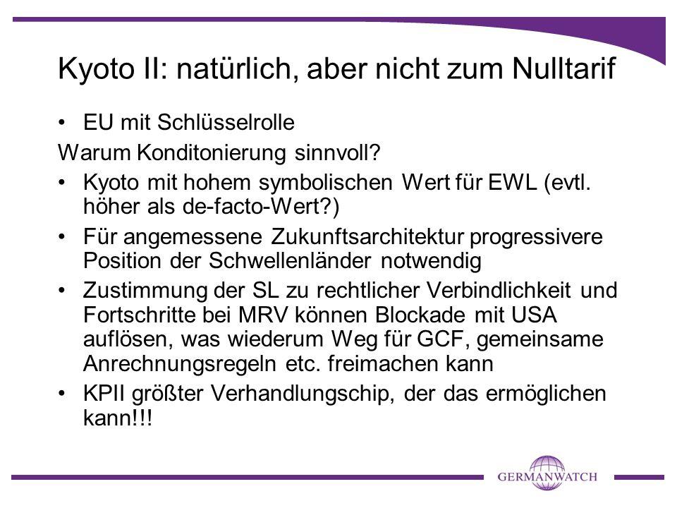 Kyoto II: natürlich, aber nicht zum Nulltarif EU mit Schlüsselrolle Warum Konditonierung sinnvoll? Kyoto mit hohem symbolischen Wert für EWL (evtl. hö
