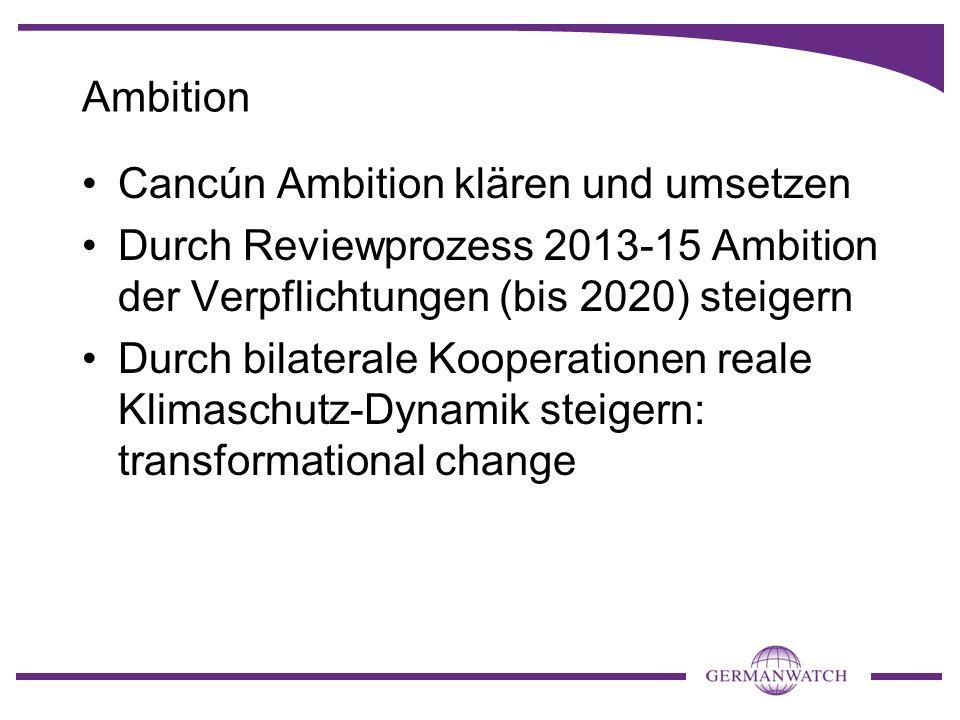 Ambition Cancún Ambition klären und umsetzen Durch Reviewprozess 2013-15 Ambition der Verpflichtungen (bis 2020) steigern Durch bilaterale Kooperation