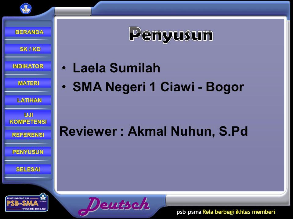 psb-psma Rela berbagi ikhlas memberi Laela Sumilah SMA Negeri 1 Ciawi - Bogor Reviewer : Akmal Nuhun, S.Pd