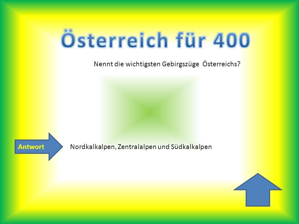 Antwort Nennt die wichtigsten Gebirgszüge Österreichs? Nordkalkalpen, Zentralalpen und Südkalkalpen