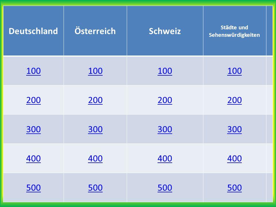 ; DeutschlandÖsterreichSchweiz Städte und Sehenswürdigkeiten 100 200 300 400 500