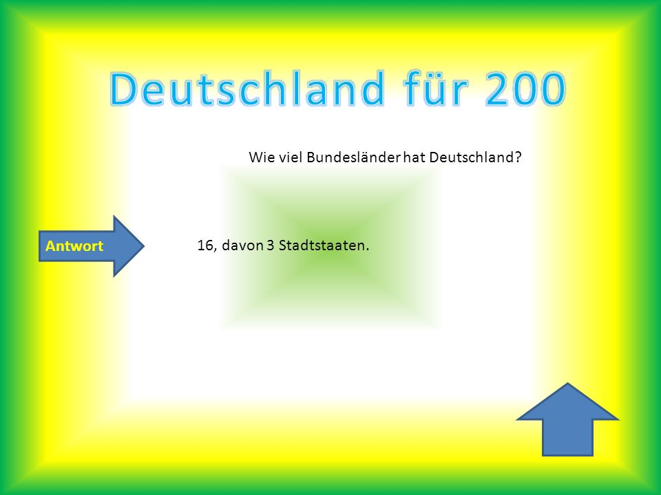 Antwort Wie viel Bundesländer hat Deutschland? 16, davon 3 Stadtstaaten.