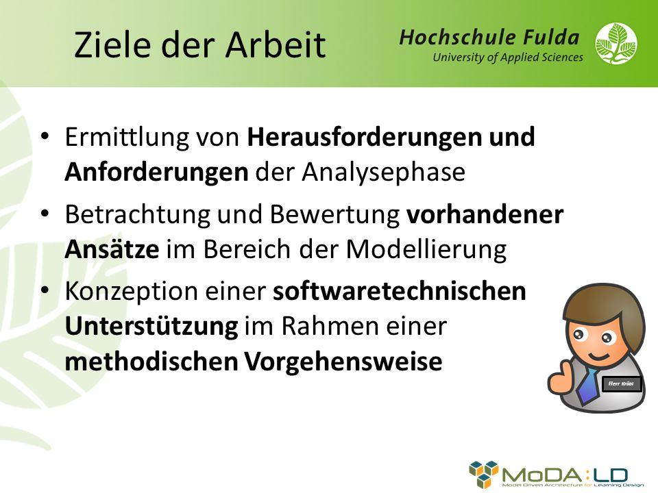 Ziele der Arbeit Ermittlung von Herausforderungen und Anforderungen der Analysephase Betrachtung und Bewertung vorhandener Ansätze im Bereich der Modellierung Konzeption einer softwaretechnischen Unterstützung im Rahmen einer methodischen Vorgehensweise Herr Kräbl