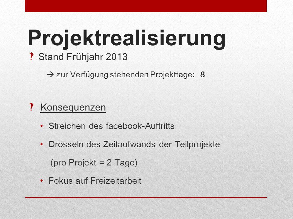 Projektrealisierung Stand Frühjahr 2013 zur Verfügung stehenden Projekttage: 8 Konsequenzen Streichen des facebook-Auftritts Drosseln des Zeitaufwands