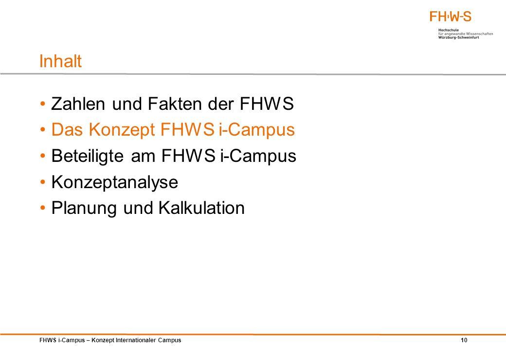 FHWS i-Campus – Konzept Internationaler Campus 10 Zahlen und Fakten der FHWS Das Konzept FHWS i-Campus Beteiligte am FHWS i-Campus Konzeptanalyse Plan