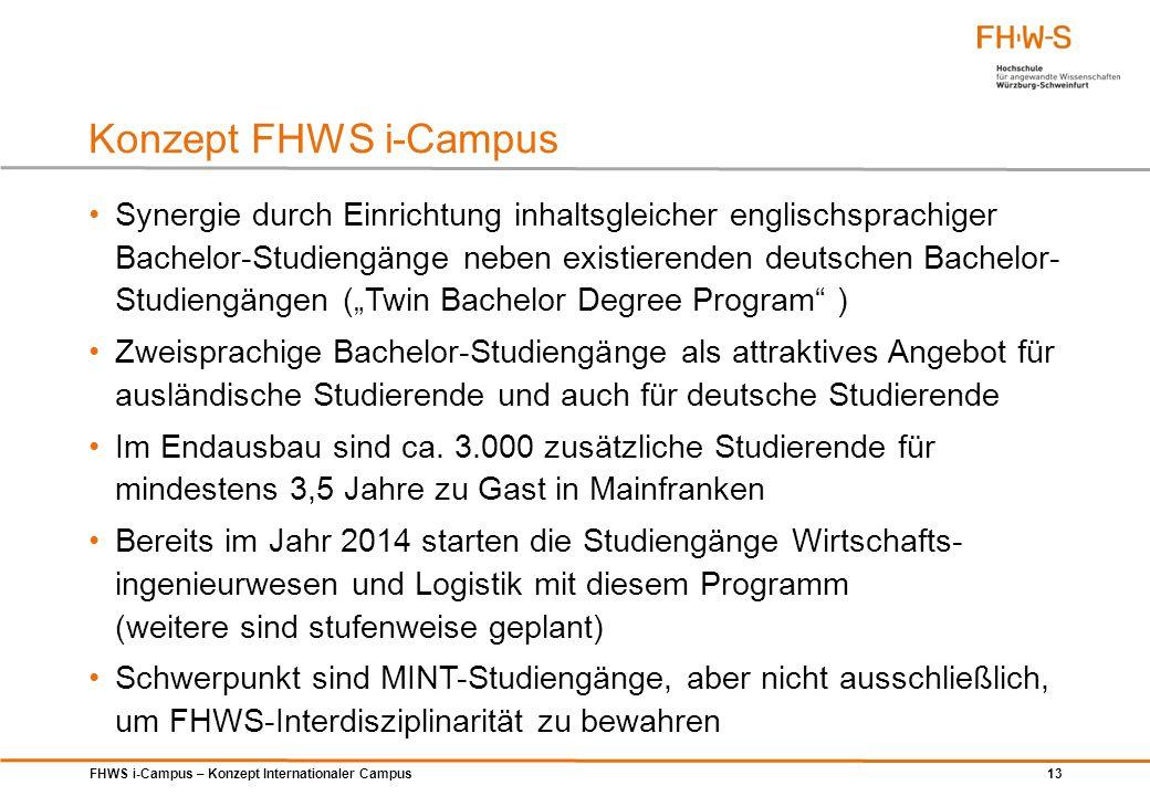 FHWS i-Campus – Konzept Internationaler Campus 13 Konzept FHWS i-Campus Synergie durch Einrichtung inhaltsgleicher englischsprachiger Bachelor-Studien