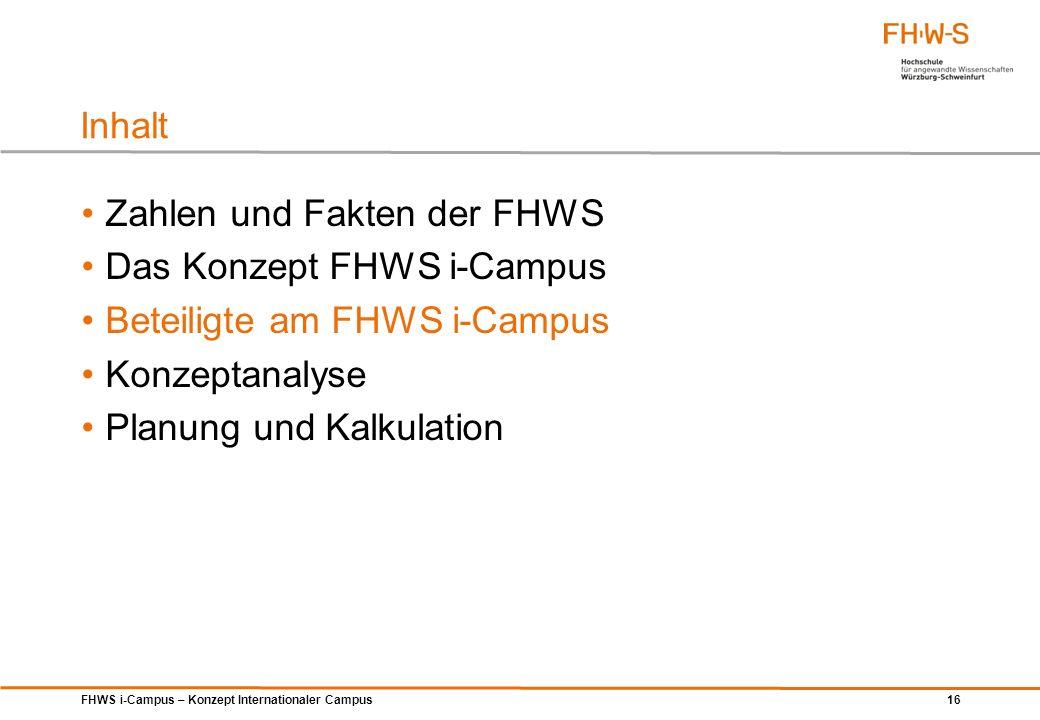 FHWS i-Campus – Konzept Internationaler Campus 16 Zahlen und Fakten der FHWS Das Konzept FHWS i-Campus Beteiligte am FHWS i-Campus Konzeptanalyse Plan